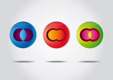 Kleurrijke reeks met drie symbolen. Royalty-vrije Stock Foto's