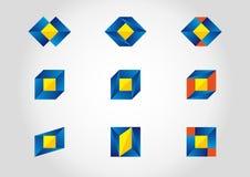 Kleurrijke reeks met negen symbolen. Stock Fotografie