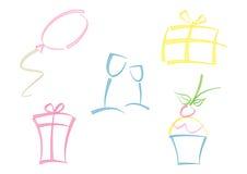Kleurrijke reeks partijpictogrammen Royalty-vrije Stock Afbeelding
