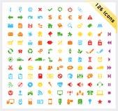 Kleurrijke reeks van 126 glanzende pictogrammen Stock Afbeeldingen