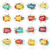Kleurrijke reeks van abstract praatjeetiket Stock Afbeeldingen