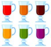 Kleurrijke reeks van beeldverhaal diverse smoothie Stock Fotografie