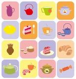 Kleurrijke reeks van dessert, thee, koffie vector illustratie