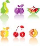 Kleurrijke reeks van het gestileerde fruit Stock Afbeelding