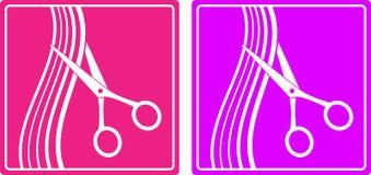 Kleurrijke reeks van het teken van de haarsalon Royalty-vrije Stock Afbeeldingen