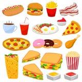 Kleurrijke reeks van snel voedsel in modern vlak ontwerp Royalty-vrije Stock Afbeelding