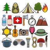 Kleurrijke reeks voor het kamperen en wandeling in modern vlak ontwerp Stock Afbeeldingen