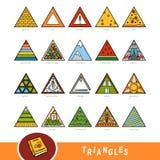 Kleurrijke reeks voorwerpen van de driehoeksvorm Visueel woordenboek stock illustratie