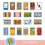 Kleurrijke reeks voorwerpen van de rechthoekvorm Visueel woordenboek stock illustratie