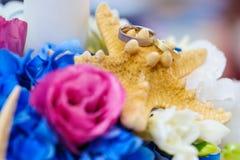 Kleurrijke regeling voor trouwringen Stock Afbeeldingen