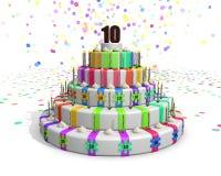 Kleurrijke regenboogcake met op bovenkant een chocolade nummer 10 Royalty-vrije Stock Afbeelding