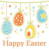 Kleurrijke Retro Gelukkige Pasen-Kaart met Eieren stock illustratie