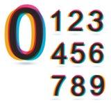 Kleurrijke retro geplaatste Aantallen. Stock Fotografie