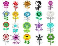 Kleurrijke Retro Geplaatste Bloemen Royalty-vrije Stock Afbeeldingen