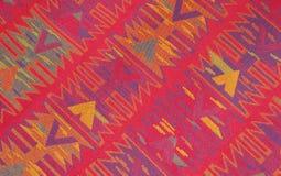 Kleurrijke retro katoenen stoffenclose-up Stock Afbeeldingen