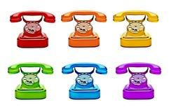 Kleurrijke Retro Telefoons royalty-vrije stock afbeelding