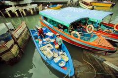 Kleurrijke riverboats met vissenverkopers en sommige toeristen van de visserij van dorp Stock Afbeelding