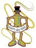 Kleurrijke Robot die het Gelukkige teken van het Nieuwjaar houdt Stock Foto