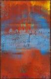 Kleurrijke Rode en Blauwe Metaalachtergrond met Rusty Seams Along Edges Royalty-vrije Stock Afbeelding