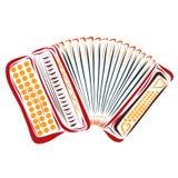 Kleurrijke rode knoopharmonika, muzikaal instrument stock illustratie
