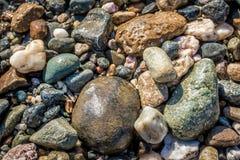 Kleurrijke ronde overzeese kiezelstenen Stock Foto's