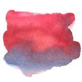 Kleurrijke rood-blauwe waterverfvlek met aquarelle verfvlek Stock Foto's