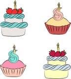 Kleurrijke room cupcake en cake met bes vector illustratie