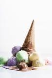 Kleurrijke Roomijslepels Stock Foto