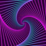 Kleurrijke roterende geometrische violette en blauwe vierkanten Geometrische abstracte optische illusie op donkere violette achte stock illustratie