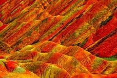 Kleurrijke rotsen van kleurrijke kleurrijke Geopark, Zhangye, Gansu, China Royalty-vrije Stock Foto's