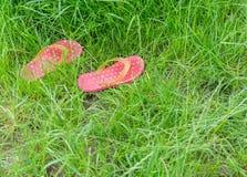 Kleurrijke rubberpantoffels of wipschakelaars op vers groen gras Royalty-vrije Stock Afbeeldingen