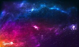 Kleurrijke Ruimtemelkwegachtergrond met Glanzende Sterren, Stardust en Nevel Vectorillustratie voor kunstwerk, partijvliegers Royalty-vrije Stock Foto