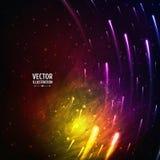 Kleurrijke Ruimtemelkwegachtergrond met Licht, stock illustratie