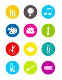Kleurrijke school rond gemaakte pictogrammen Stock Foto's