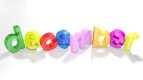 Kleurrijke schrijft 3D van december - het 3D teruggeven Stock Foto