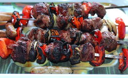 Kleurrijke shashlikvleespennen Stock Afbeelding