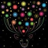 Kleurrijke Shinning-Sneeuwvlokken tussen Deer& x27; s Hoornen Hand Getrokken Regenboog Gekleurd Silhouet van Rendier Royalty-vrije Stock Foto's