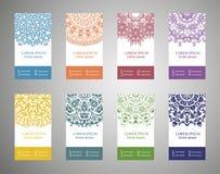 Kleurrijke sier etnische bannerreeks Malplaatjes met krabbel stammenmandalas royalty-vrije illustratie