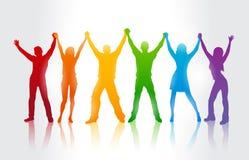 Kleurrijke silhouetten van mensen die LGBT-installatie supporing Stock Afbeelding