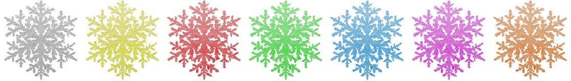 Kleurrijke sneeuwvlokgrens Stock Afbeelding