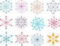 Kleurrijke sneeuwvlokken Stock Afbeeldingen