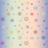 Kleurrijke sneeuwvlokken op een veelkleurige achtergrond Royalty-vrije Stock Afbeelding