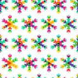 Kleurrijke sneeuwvlokken, vector naadloos patroon Nieuwjaar of Christus Stock Afbeelding