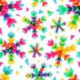 Kleurrijke sneeuwvlokken, vector naadloos patroon Nieuwjaar of Christus Stock Foto