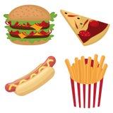 Kleurrijke snel voedselreeks Stock Fotografie