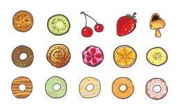 Kleurrijke snoepjes en vruchten voedselillustratie Stock Foto's