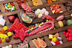 Kleurrijke snoepjesdoos Royalty-vrije Stock Fotografie