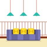 Kleurrijke Sofa On Balcony With Ceiling-Lampen stock illustratie