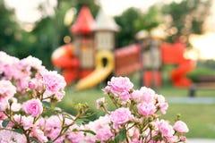 Kleurrijke speelplaats in het vage park stock afbeeldingen
