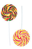 Kleurrijke spiraalvormige lollys Stock Foto's